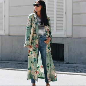 Kimono Jacket US 10 Vintage Print Boho Robe